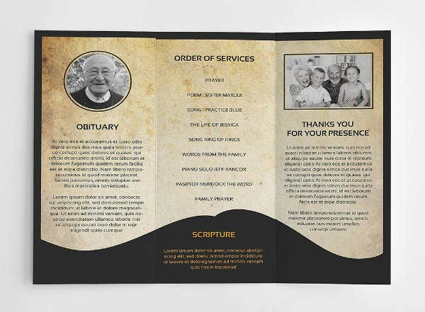rustic theme funeral service brochure template