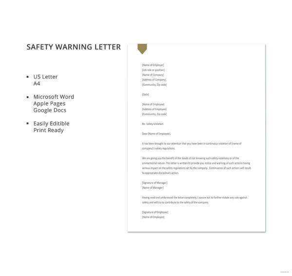 safety warning letter template