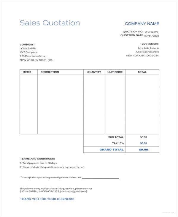 Pdf quotation template