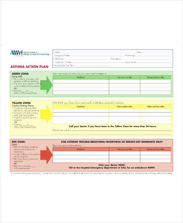 Sample Asthma Action Plan
