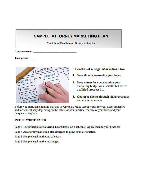 sample attorney marketing plan