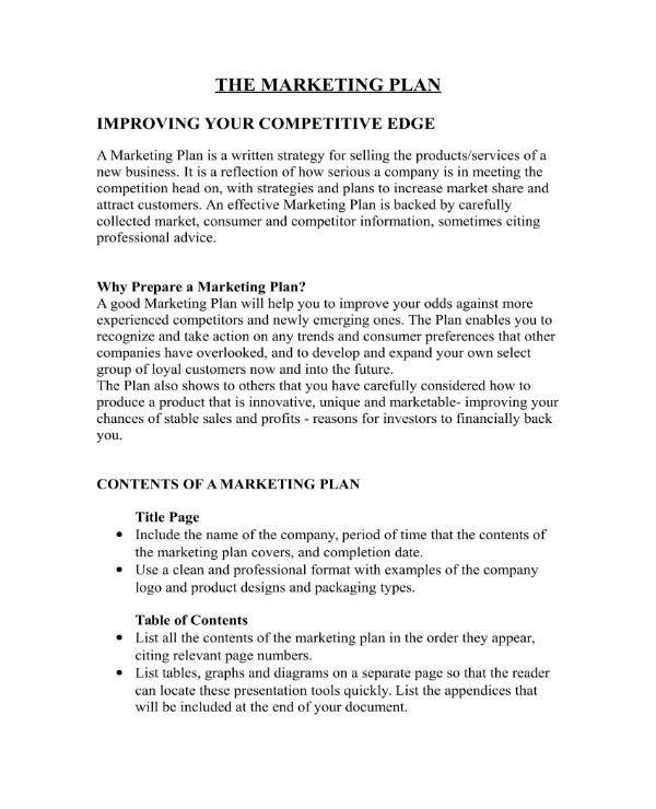 5 business marketing plan templates pdf doc free premium