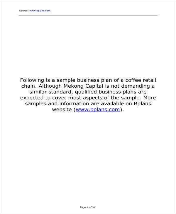 Sample Business Plan for Coffee Chain