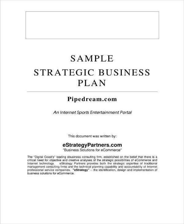 sample business strategic plan