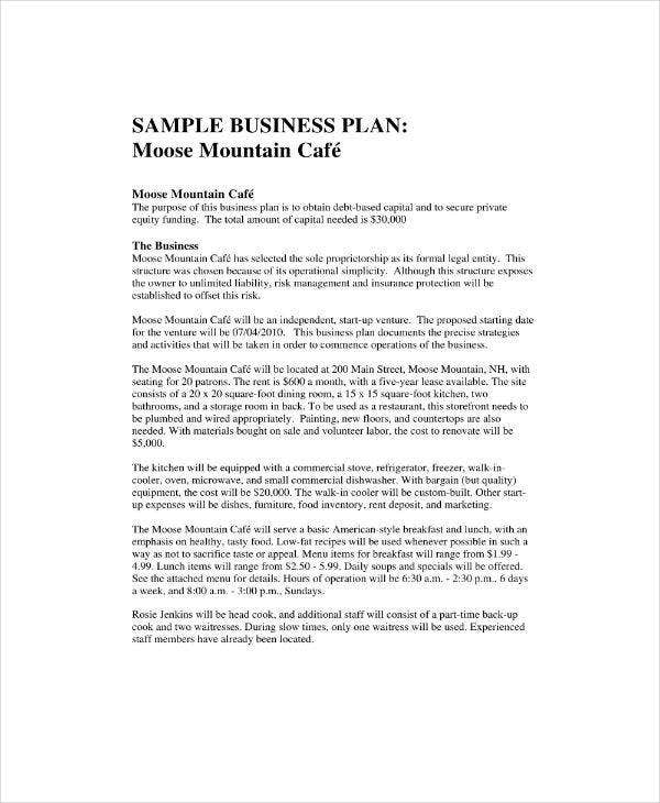 Sample Cafe Business Plan