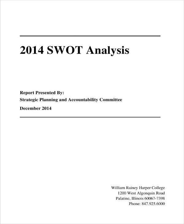 Sample College SWOT Analysis