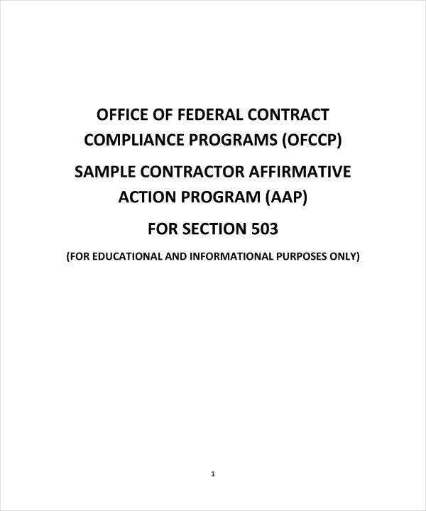 Sample Contractor Affirmative Action Plan
