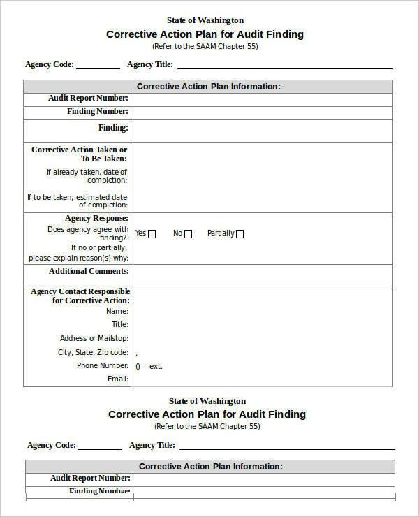 sample corrective action plan doc