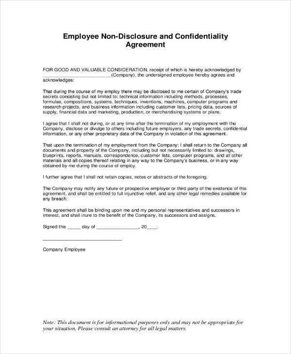 Sample Employee Confidentiality Agreement