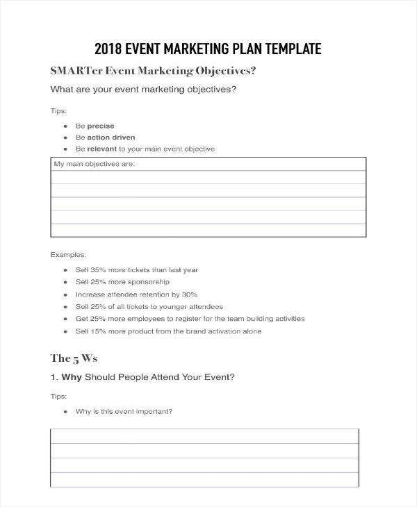 Sample Event Marketing Plan Template