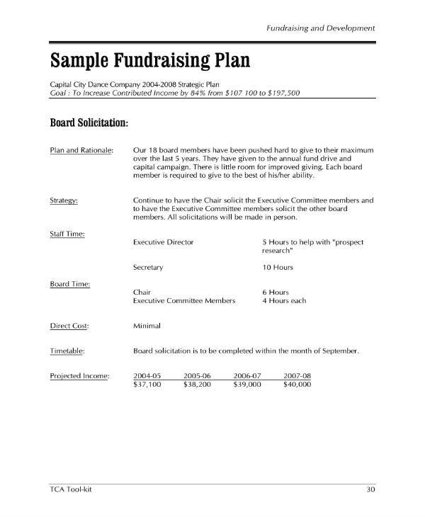 sample fundraising plan 1