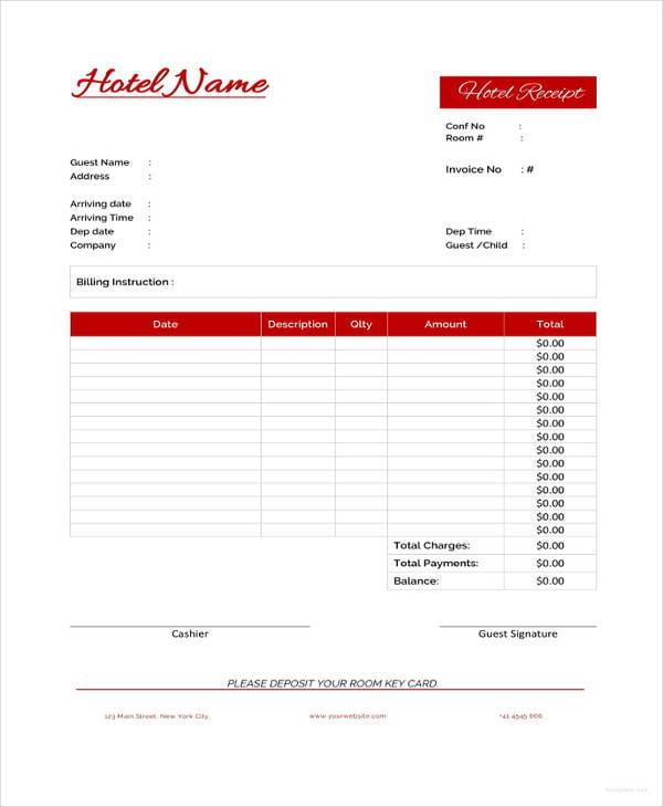 sample hotel receipt template