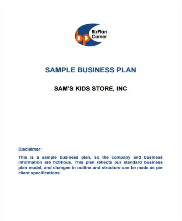 sample kids store business plan