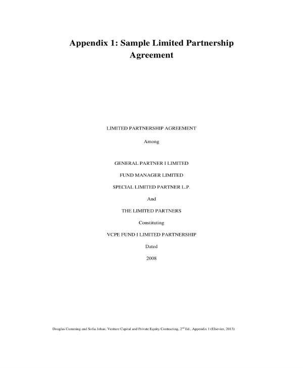 sample limited partnership investment agreement 01