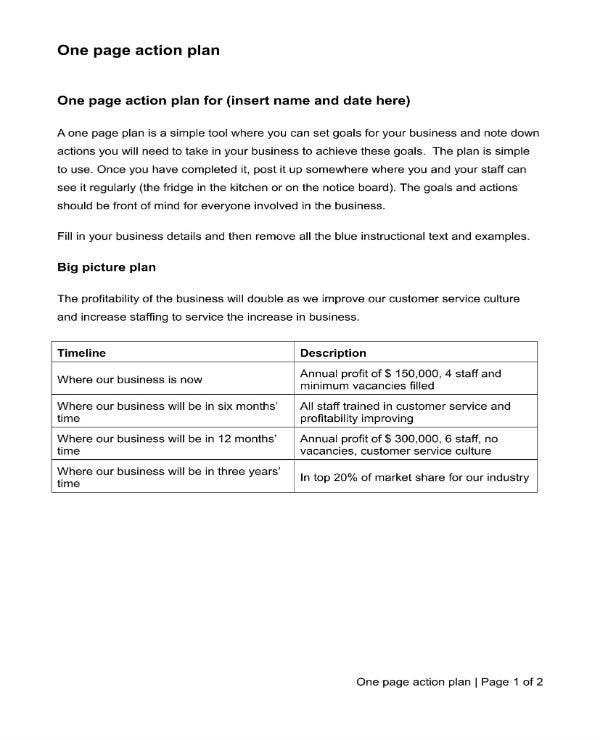 sample one page action plan 1