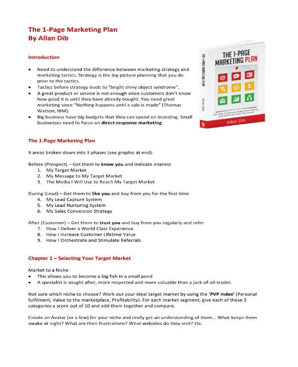 sample one page marketing plan 11