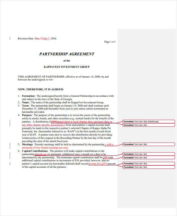 10  partnership investment agreement templates
