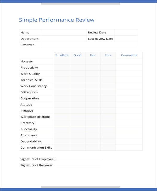 Sample Performance Review. Details. File Format