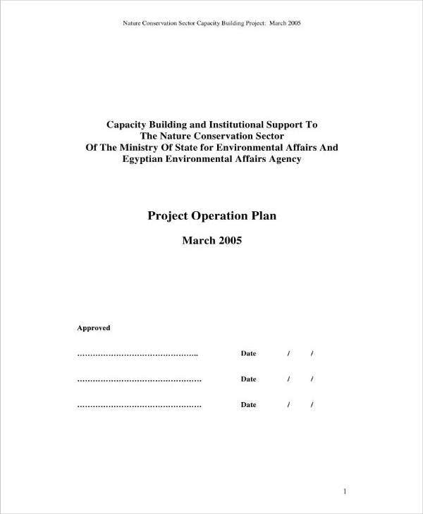 Sample Project Operation Plan