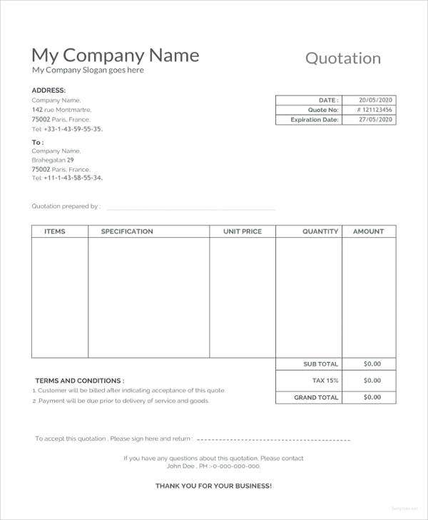 sample quotation template