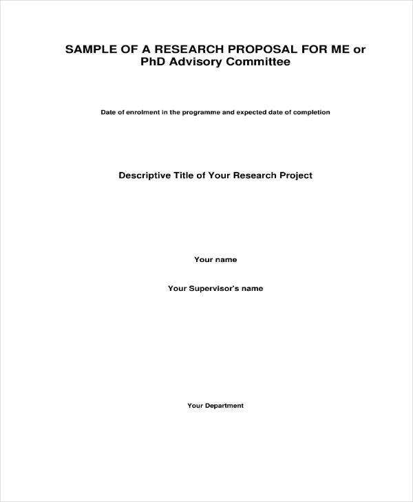 Sample Research Project Proposal