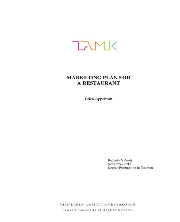sample restaurant marketing plan 01