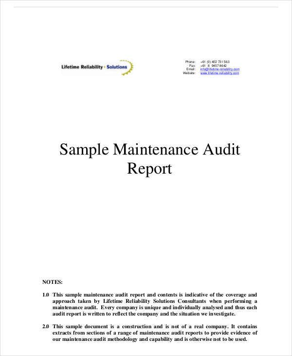 sample system maintanace audit report