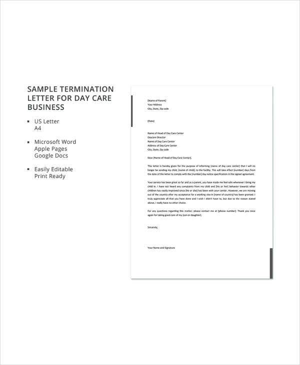 sample termination letter for day care business