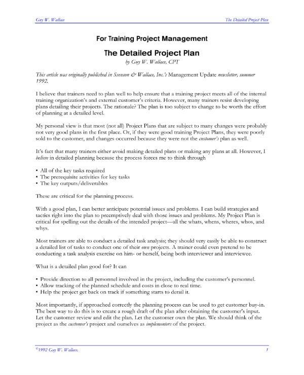 sample training project plan 1