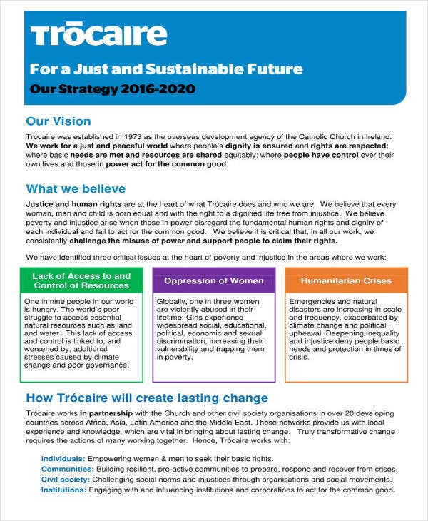 Sample Two Page Strategic Plan