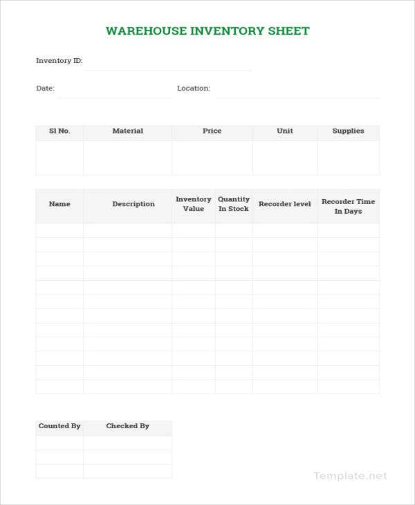 sample warehouse management spreadsheet template