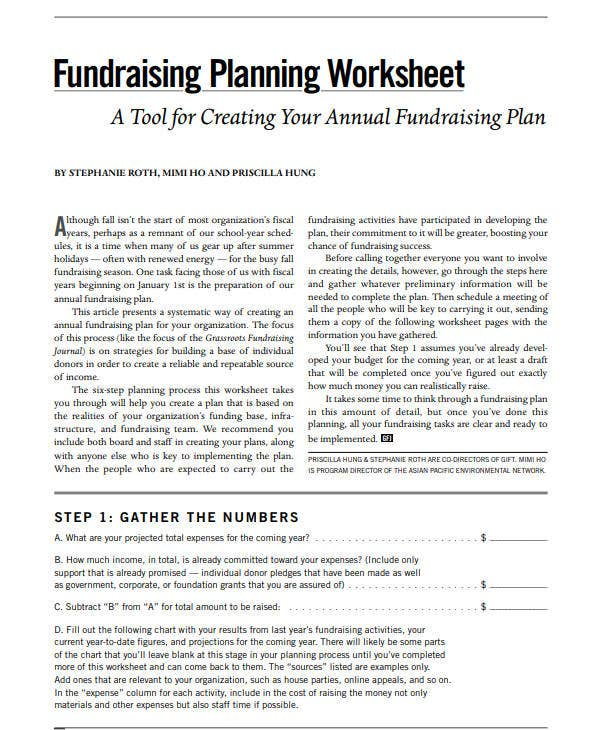school fundraising planning worksheet