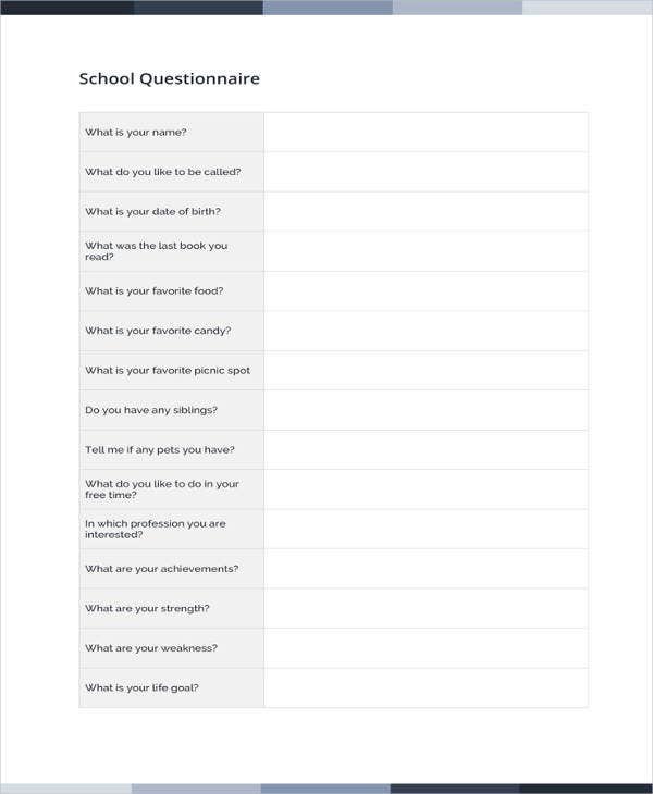 questionnaire template word 11 free word document downloads