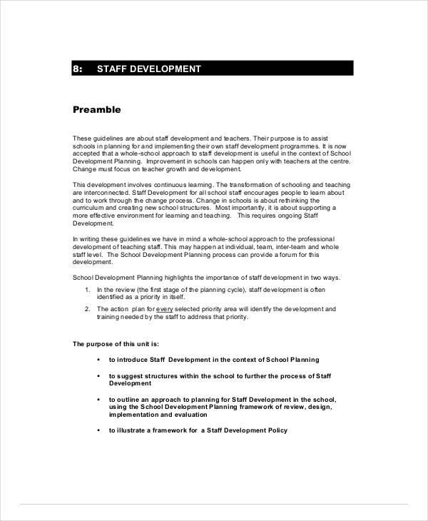 school staff development plan