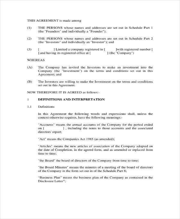 scottish investment agreement sample