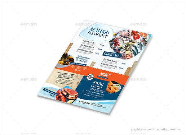 seafood restaurant menu flyer sample