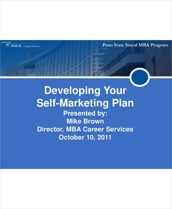 Self-Marketing Plan Example