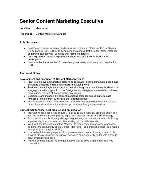 senior content marketing executive