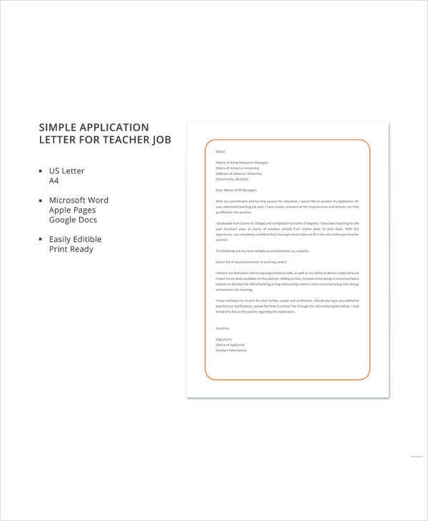 simple application letter for teacher job