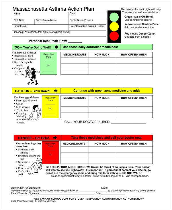 Simple Asthma Action Plan Template