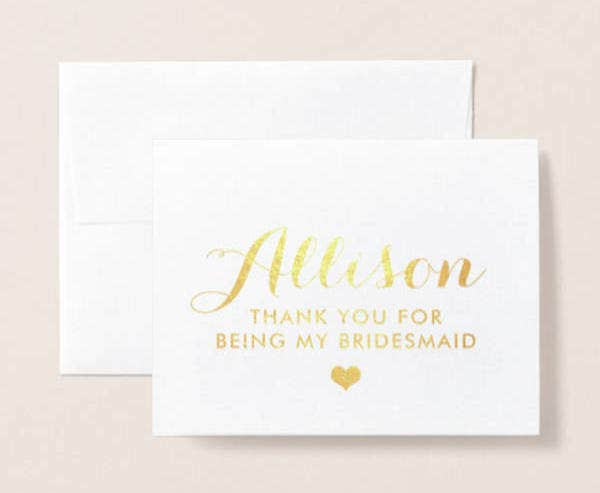 Simple Bridesmaid Thank You Card