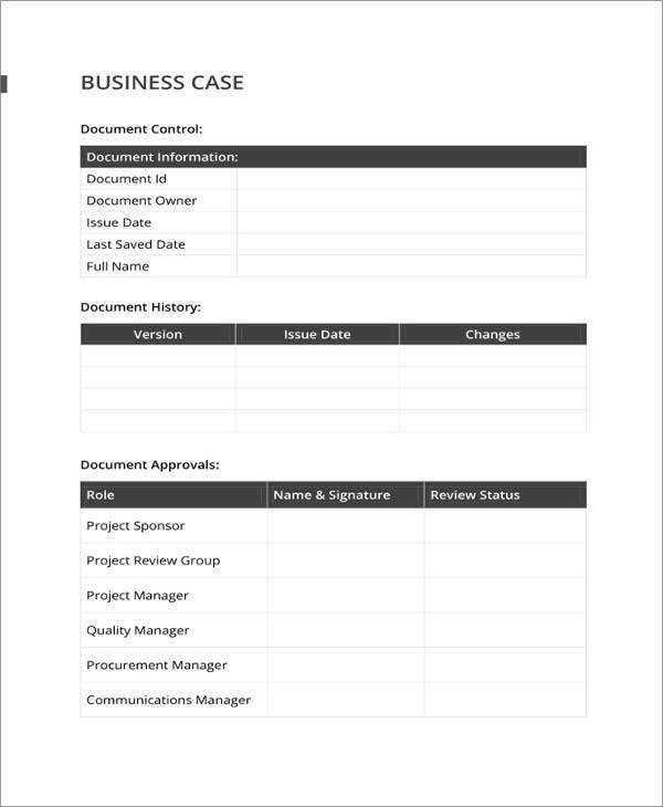 simple business case template