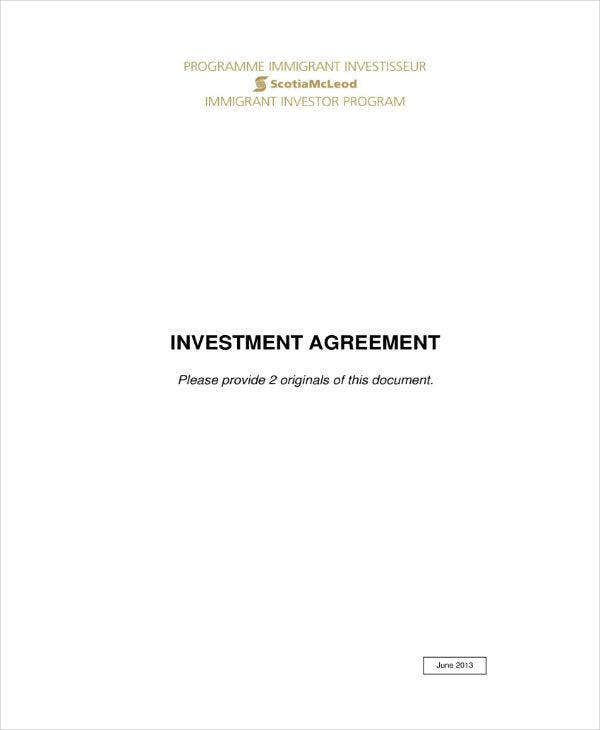 simple investment agreement sample