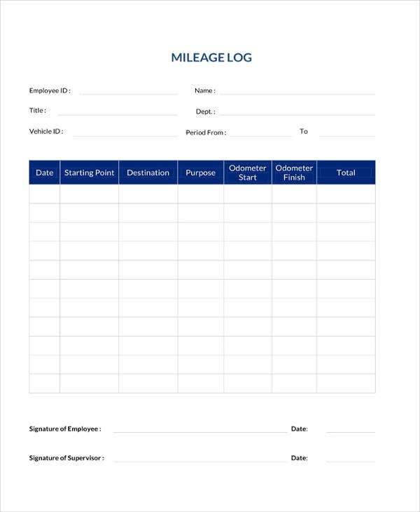simple mileage log template