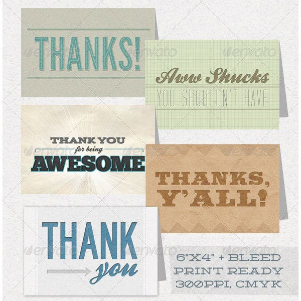 simple professional thank you card template pack