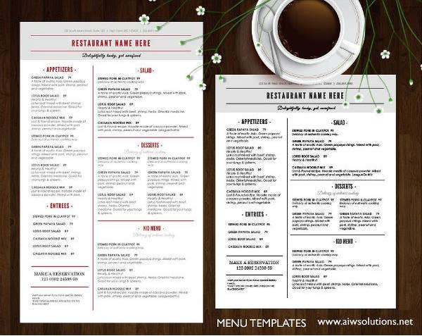Simple Restaurant Menu Brochure Template