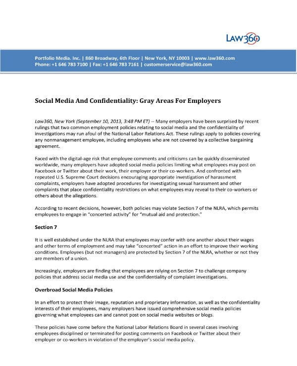 7  social media confidentiality agreement templates
