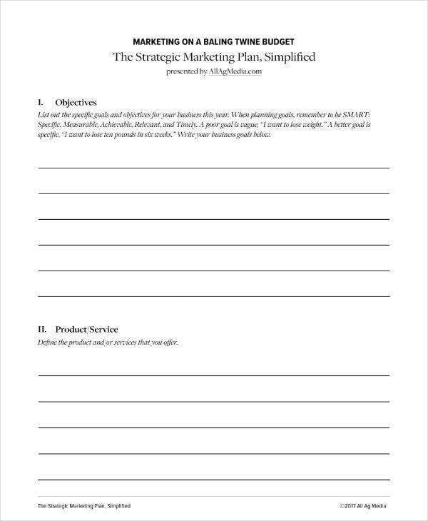 simple strategic marketing plan