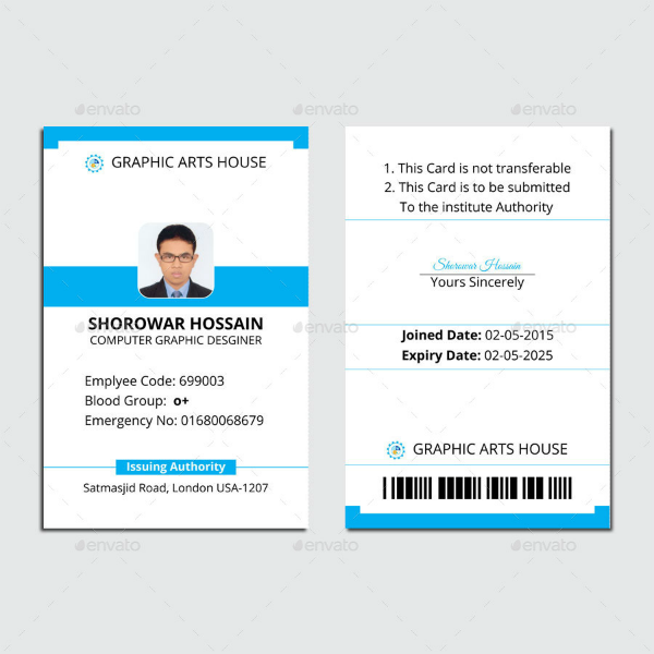 Simple Vertical ID Card Template