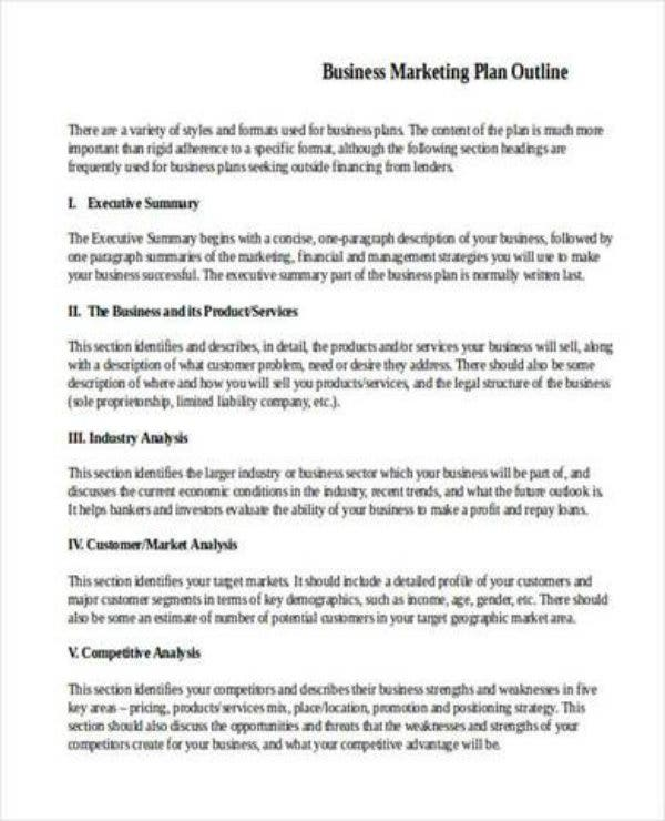 small business marketing plan outline